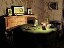 Oude eetkamer stock illustratie