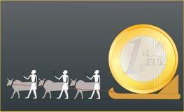 Oude Egyptenaren die het EURO muntstuk drijven stock illustratie