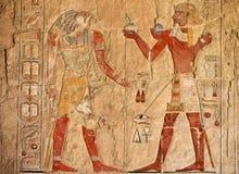 Oude Egyptische fresko Stock Afbeeldingen