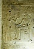 Oude Egyptische gravure, Seti en Horus Royalty-vrije Stock Afbeeldingen