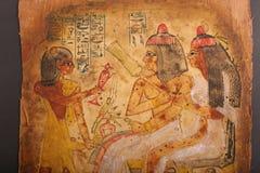 Oude Egyptische Koningen en Koningin Art op Papyrus Stock Fotografie