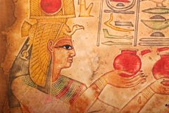 Oude Egyptische Koningen en Koningin Papyrus Royalty-vrije Stock Foto