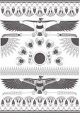 Oude Egyptische muurschilderingen, beeldhouwwerken en patronen De oude achtergrond van Egypte zwart-wit vector illustratie