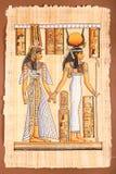 Oude Egyptische Papyrus - Egyptische koningin Cleopatra Stock Foto's