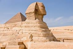 Oude Egyptische Piramide van Khafre en Grote Sfinx royalty-vrije stock foto