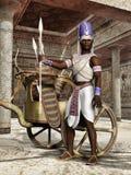 Oude Egyptische strijder met een blokkenwagen Stock Afbeeldingen