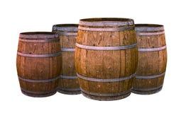 Oude eiken vat het verouderen wijnen die groep van de aroma de natuurlijke materiële wijnbereiding grote uiterst kleine witte ach stock fotografie