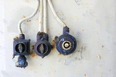 Oude elektrische horizontale knoppen - Royalty-vrije Stock Afbeeldingen