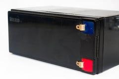 Oude en gebruikte zwarte 12V batterij Royalty-vrije Stock Foto's