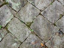 Oude en geregelde steenblokken met mos en grond in hiaten tussen stock foto