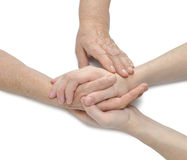 Oude en jonge handen; het aanbieden van comfort Royalty-vrije Stock Foto's