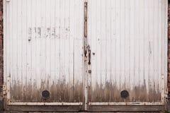 Oude en lelijke dubbele deur in Finland stock foto