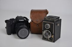 Oude en nieuwe camera royalty-vrije stock foto