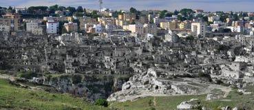 Oude en nieuwe stadsmening van Matera Royalty-vrije Stock Afbeeldingen