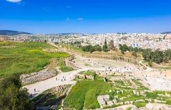 Oude en roman ru?nes van Jerash Gerasa, Jordani? royalty-vrije stock afbeelding
