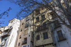 Oude en typische huizen van de Spaanse stad van Cuenca, wereldheri Stock Foto's
