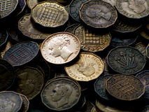 Oude Engelse Muntstukken Royalty-vrije Stock Afbeeldingen