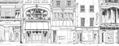 Oude Engelse rijtjeshuizen met kleine winkels of zaken op benedenverdieping Bandstraat, Londen schets Royalty-vrije Stock Afbeeldingen
