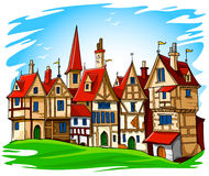 Oude Europese stads vectorillustratie Stock Afbeeldingen