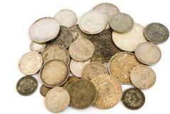 Oude Europese zilveren muntstukken royalty-vrije stock afbeelding