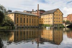 Oude fabriek. Industrieel landschap. Norrkoping. Zweden Stock Afbeeldingen