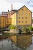 Oude fabriek. Industrieel landschap. Norrkoping. Zweden Stock Foto