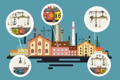 Oude Fabriek met Schoorsteenstapels Stock Afbeelding