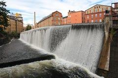 Oude fabrieken. Industrieel landschap. Norrkoping. Zweden Stock Foto's