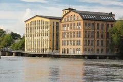 Oude fabrieken. Industrieel landschap. Norrkoping. Zweden Stock Foto