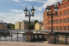 Oude fabrieken. Industrieel landschap. Norrkoping. Zweden Royalty-vrije Stock Foto's