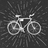 Oude fiets in de grungestijl stock afbeeldingen