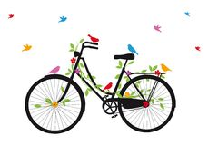 Oude fiets met vogels, vector Royalty-vrije Stock Afbeelding