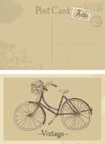 Oude fiets uitstekende prentbriefkaar stock illustratie