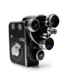 Oude filmcamera 16 mm met drie lenzen Stock Afbeelding