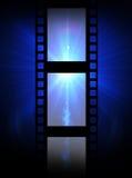 Oude filmstrook op een blauwe achtergrond Stock Fotografie