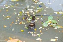 Oude flessen die in het water drijven Stock Foto's