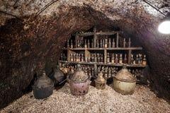 Oude flessen wijn Stock Fotografie