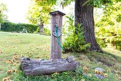 Oude fontein in het hout Stock Foto's