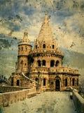 Oude foto met het bastion van de Visser in Buda Castle in Boedapest, H Royalty-vrije Stock Afbeelding