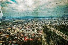 Oude foto met luchtmening van stad Deva, Roemenië 4 Royalty-vrije Stock Foto's