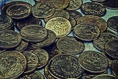 Oude foto met oude muntstukken 5 Stock Foto's