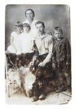 Oude foto van familie Stock Afbeelding