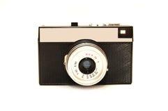 Oude fotocamera die over een witte achtergrond wordt geïsoleerda Stock Foto's