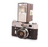 Oude fotocamera met flits Stock Afbeelding