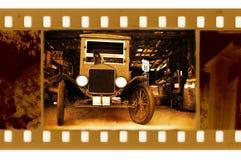 Oude frame foto met retro auto Stock Afbeeldingen