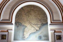 Oude Franse kaart van gekoloniseerde Cochinchina bij het postkantoor in Ho Chi Minh City, Vietnam stock afbeelding