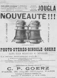 Oude Franse publiciteit op de theaterverrekijkers van recent - Th 19 Royalty-vrije Stock Afbeeldingen