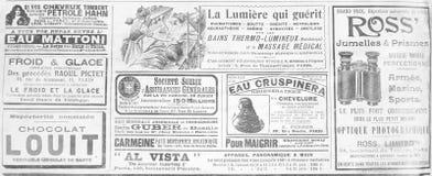 Oude Franse publiciteit van het eind van de 19de eeuw stock foto's