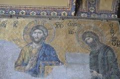 Oude fresko in Hagia Sophia, Istanboel Turkije Stock Foto