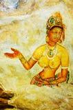 Oude fresko's op onderstel Sigiriya Stock Foto's